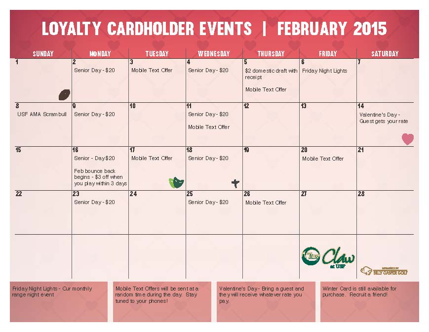 February Cardholder Specials at the Claw at USF Golf Course