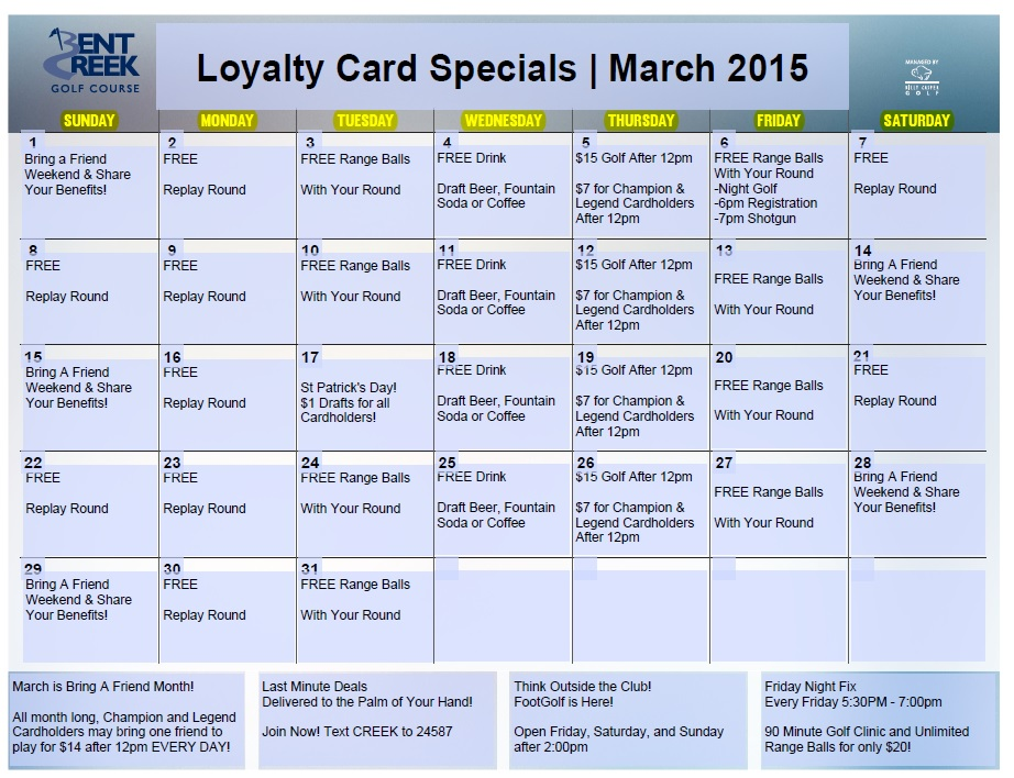 March Loyalty Calendar