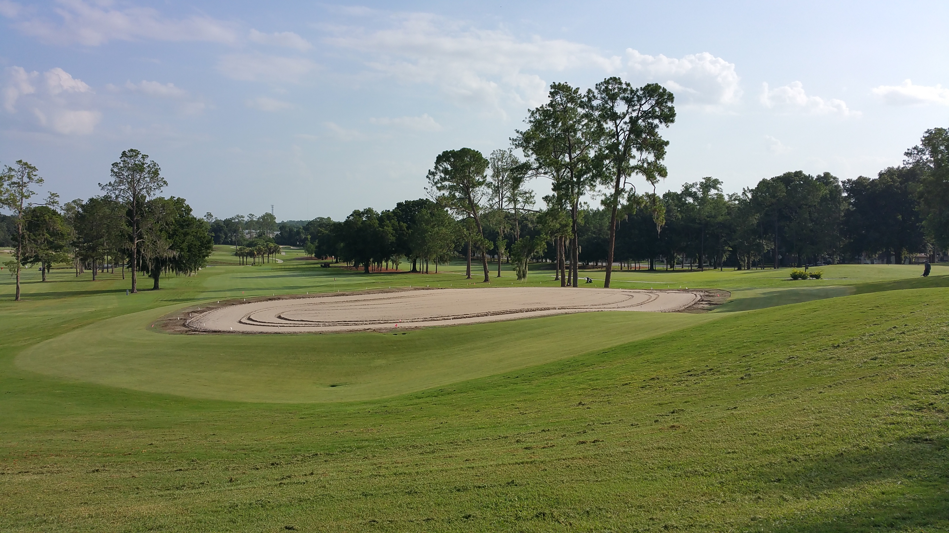 Hole number 6 at Ocala Golf Club in Ocala, FL after the soil has been tilled