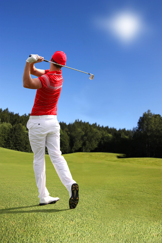 Golfer Finishing His Swing