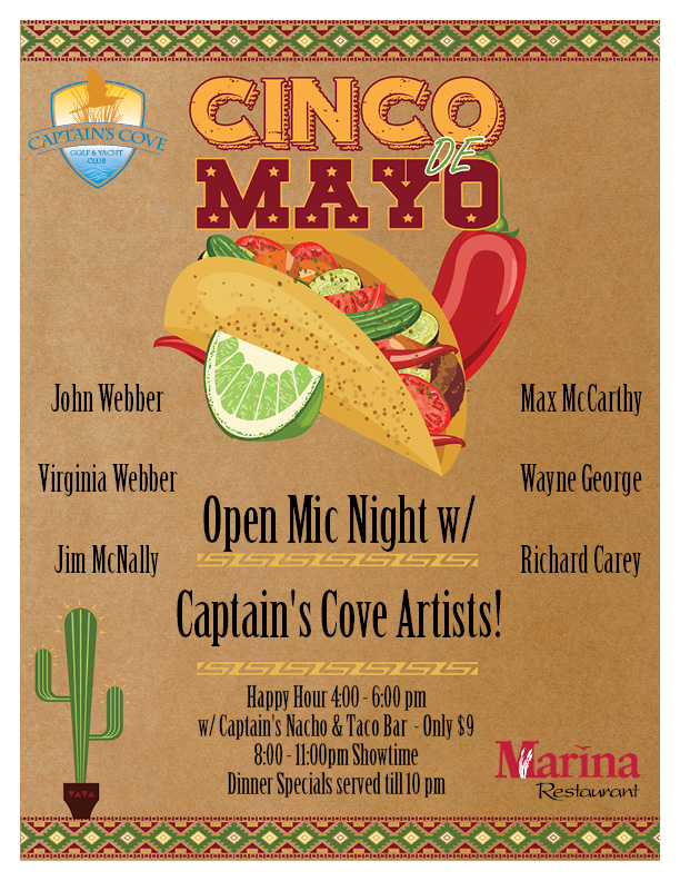 Cinco de Mayo w/ Open Mic Hosted by Captains Cove Artists