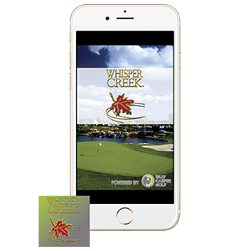 Phone with Icon App Web Banner Whisper Creek Golf Club